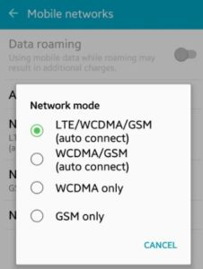 tukar network mode samsung android